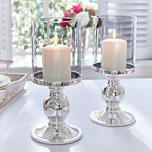 Versilberter Kerzenleuchter mit Glaszylinder
