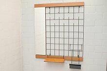 Verspiegelte Wand-Garderobe aus Teak & Metall,