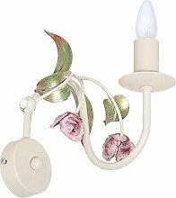 Verspielte Wandleuchte in Weiß Rosa Floraler Stil 1x E14 bis zu 60 Watt 230V aus Metall & Glas Flur Wohnzimmer Esszimmer Lampe Leuchten Wandlampe innen