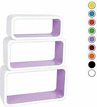 Verstärkte Vielen Farben MDF Retro Design Cube 3er Set Regal Regale Wandregal Deko Würfel CD DVD Lounge Cuben LO88 (Weiß/Lila)