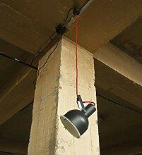 Verstellbare Pendelleuchte Grau rotes Kabel