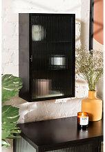 Vertikaler Wandschrank aus Metall und Glas Schwarz