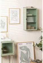 Vertikaler Wandschrank aus Metall und Glas Seladon