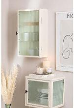 Vertikaler Wandschrank aus Metall und Glas Weiss