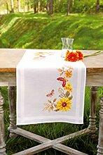 Vervaco PN-0147656 VER Läufer Sonnenblumen & Schmetterlinge