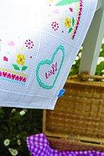 Vervaco PN-0150655 Gezaehlte Stickerei Aida Tischdecke mit bunten Blumen