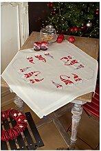 Vervaco PN-0155211 Kreuzstichpackung Tischdecke Kreuzstich vorgedruckt, Baumwolle, weiß, 80 x 80 x 0,3 cm