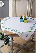 Vervaco PN-0155956 Kreuzstichpackung Stickpackung Tischdecke zum Auszählen, Baumwolle, weiß, 80 x 80 x 0,3 cm