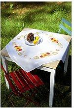 Vervaco PN-0156859 Stickpackung Tischdecke Kreuzstich vorgedruckt, Baumwolle, Weiß, 80 x 80 x 0,3 cm