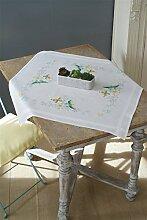 Vervaco PN-0157237 Blumen und Schmetterling Kreuzstichpackung vorgedruckt Tischdecke, Baumwolle, weiß, 80 x 80 x 0,30 cm