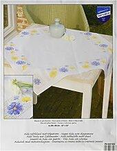Vervaco Tischdecke Blüten in blau und gelb aida Decke mit Zählmuster, Baumwolle, Mehrfarbig, 80.0 x 80.0 x 0.30000000000000004 cm, 1 Einheiten