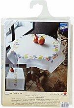 Vervaco Tischdecke Farbige Blätter bedruckte Decke/Läufer mit Webrand, Baumwolle, Mehrfarbig, 80.0 x 80.0 x 0.30000000000000004 cm, 1 Einheiten