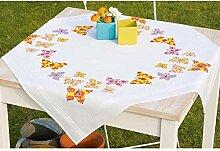 Vervaco Tischdecke Flatternde Schmetterlinge bedruckte Decke/Läufer mit Webrand, Baumwolle, Mehrfarbig, 80.0 x 80.0 x 0.30000000000000004 cm, 1 Einheiten