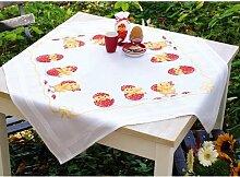 Vervaco Tischdecke Frohe Ostern bedruckte Decke/Läufer mit Webrand, Baumwolle, Mehrfarbig, 80.0 x 80.0 x 0.30000000000000004 cm, 1 Einheiten