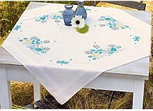Vervaco Tischdecke Gräser und Libellen bedruckte Decke/Läufer mit Webrand, Baumwolle, Mehrfarbig, 80.0 x 80.0 x 0.30000000000000004 cm, 1 Einheiten