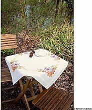 Vervaco Tischdecke Herbstblätter Kreuzstichpackung, Baumwolle, Mehrfarbig, 80.0 x 80.0 x 0.30000000000000004 cm, 1 Einheiten