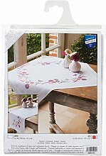 Vervaco Tischdecke lila Blumen bedruckte Decke/Läufer mit Webrand, Baumwolle, Mehrfarbig, 80.0 x 80.0 x 0.30000000000000004 cm, 1 Einheiten