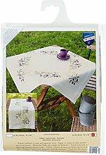 Vervaco Tischdecke Olivenzweige bedruckte Decke mit Webrand, Baumwolle, Mehrfarbig, 80.0 x 80.0 x 0.30000000000000004 cm, 1 Einheiten