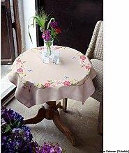 Vervaco Tischdecke rosa Blumen mit Schmetterlingen bedruckte Decke/Läufer mit Webrand, Baumwolle, Mehrfarbig, 80.0 x 80.0 x 0.30000000000000004 cm, 1 Einheiten
