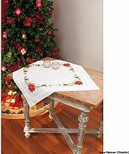 Vervaco Tischdecke rote Blumen bedruckte Decke/Läufer mit Webrand, Baumwolle, Mehrfarbig, 80.0 x 80.0 x 0.30000000000000004 cm, 1 Einheiten