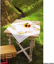 Vervaco Tischdecke Sonnenblumen und Schmetterlinge bedruckte Decke/Läufer mit Webrand, Baumwolle, Mehrfarbig, 80.0 x 80.0 x 0.30000000000000004 cm, 1 Einheiten