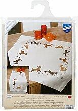 Vervaco Tischdecke Spielende Hunde bedruckte Decke/Läufer mit Webrand, Baumwolle, Mehrfarbig, 80.0 x 80.0 x 0.30000000000000004 cm, 1 Einheiten