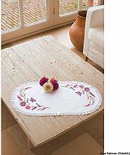 Vervaco Tischdecke Wildblumen bedruckte Deckchen mit Spitze und Garn, Baumwolle, Mehrfarbig, 30.0 x 60.0 x 0.30000000000000004 cm, 1 Einheiten