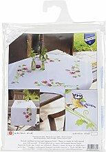 Vervaco Tischläufer ZollMeise & Stiefmütterchen Bedruckte Decke/Läufer mit Webrand, Baumwolle, Mehrfarbig, 40.0 x 100.0 x 0,3 cm, 1 Einheiten