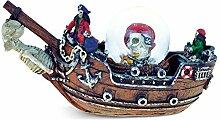Verwirrt, Piratenschiff Snow Globe (65mm) Handarbeit Tisch Top Kunstharz Snow Globe Dekoration–Piraten/Boote Thema–Einzigartige Elegantes Geschenk und Souvenir–Artikel # 9140