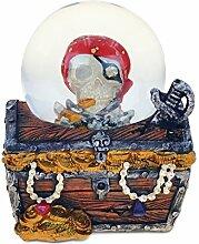Verwirrt, Treasure Box Snow Globe (65mm) Handarbeit Tisch Top Kunstharz Snow Globe Dekoration–Piraten Thema–Einzigartige Elegantes Geschenk und Souvenir–Artikel # 9141