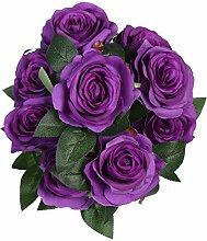 veryhome 9Head Künstliche Rose Real Touch Fake Rosen für Hochzeits Blumensträuße von Blumen Hochzeit Home Decor (Pack von 1) viole