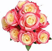 veryhome 9Head Künstliche Rose Real Touch Fake Rosen für Hochzeits Blumensträuße von Blumen Hochzeit Home Decor (Pack von 1) rosaro