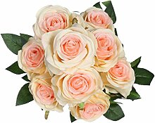 veryhome 9Head Künstliche Rose Real Touch Fake Rosen für Hochzeits Blumensträuße von Blumen Hochzeit Home Decor (Pack von 1) champagnerfarben