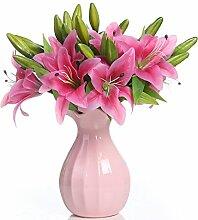 Veryhome Künstliche Lilien, aus Latex, 5 Stück, Hochzeitsstrauß, Heimdeko rosa - deep pink