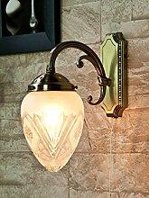 Verzierte Wandlampe mit Zugschalter Glas Schirm