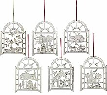 Verzierung/Dekoration Weihnachtsbaum, Set 6Stück, Découpage, aus Holz, cm 12x 9