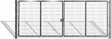Verzinktes Einfahrtstor bzw. Gartentor mit 2 Flügeln / Breite 1000 cm x Höhe 200 cm / Inklusive 2 Pfosten + Bodenverriegelung + Augenschrauben