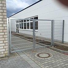 Verzinktes Einfahrtstor bzw. Gartentor mit 2 Flügeln / Breite 300 cm x Höhe 200 cm / Inklusive 2 Pfosten + Bodenverriegelung + Augenschrauben