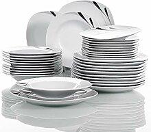 VEWEET 36-teilig Geschirr Set aus Weiß Porzellan,
