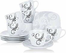 VEWEET Porzellan 6 Kaffeetassen mit 6 Untertassen