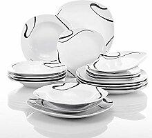 VEWEET Porzellan Kombiservice, 18-teilig Geschirr