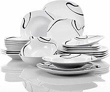 VEWEET Porzellan Tafelservice, 24-teilig