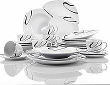 VEWEET Porzellan Tafelservice, 30-teilig Geschirr