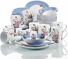 VEWEET Porzellan Tafelservice, 40 teilig Geschirr