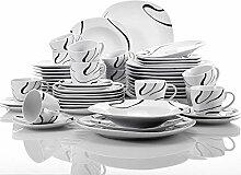 VEWEET Porzellan Tafelservice, 60-teilig Geschirr