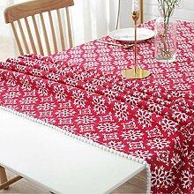VFGHH Weihnachtstischdecke,Staubdichte Rote