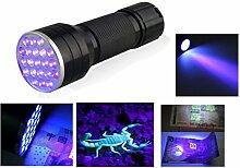 Vibrant Globe UV Ultra Violet 21LED Taschenlampe Mini Blacklight Aluminium Taschenlampe Lampe YT