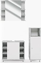VICCO Badmöbel Set FYNN Grau Beton - Badspiegel + Waschtischunterschrank + Kommode