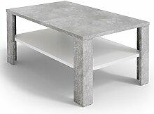 VICCO Couchtisch Beton Weiß 100 x 60 cm