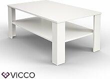VICCO Couchtisch Weiß 100 x 60 cm Wohnzimmertisch